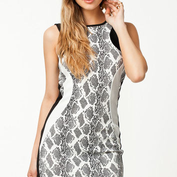 Sleeveless Snake Pattern Bodycon Mini Dress