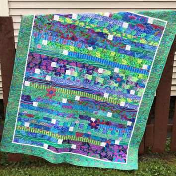 Handmade Quilt, Kaffe Fassett Jelly Roll Quilt, Blue Green Lap Quilt, Quiltsy Challenge Quilt, Quilted Couch Throw, Quilted Comforter