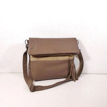 Beige leather bag, crossbody bag, beige shoulder bag, bag folding, suede handbag, crossbody purse, clutch bag, handmade bag, hobo bag