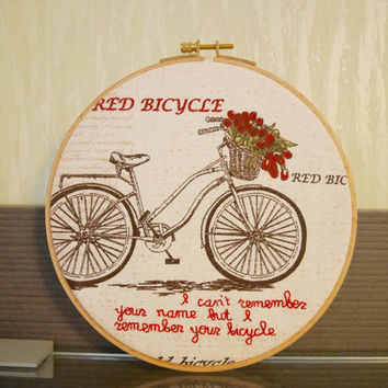 Vintage bike - Hand stitched embroidery hoop