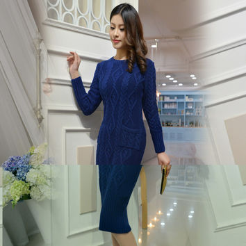 Sleeve Winter Cashmere Long Sweater Dresses Slim Thick Dresses Women New 2017 Dress Robe Bandage Longue Femme china-air-express
