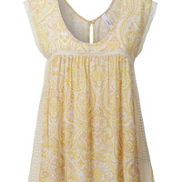 Light Yellow Paisley Baby Doll Top
