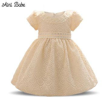 Toddler Baby Girl Party Dress Kids Clothes Lace Christening Gown Infant 1 Year Tutu Birthday Dress For Girl Baby Baptism Clothes