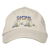 Nautical Sailboats and Stars Captain Personalized Embroidered Baseball Cap