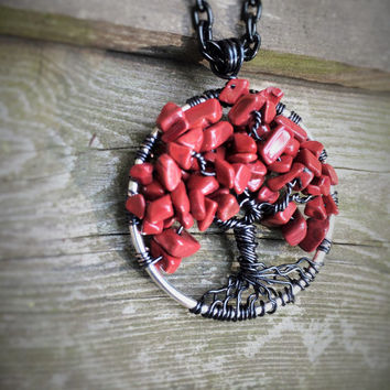 Tree Of Life Necklace Red Jasper Pendant On Black Chain Wire Wrapped Wedding Jewelry