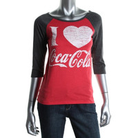 Coca-Cola Womens Heathered Raglan Sleeves Graphic Tee