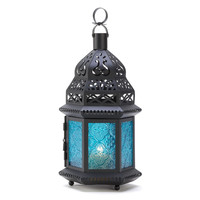 LARGE BLUE GLASS MOROCCAN LANTERN
