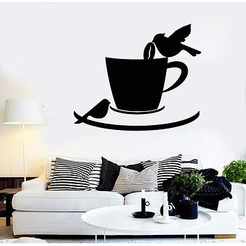 Vinyl Decal Coffee Cup Birds Cafe Kitchen Decor Wall Stickers Mural Unique Gift (ig2725)