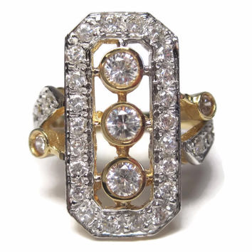 Art Deco Reproduction 14K CZ  Ring Size 5
