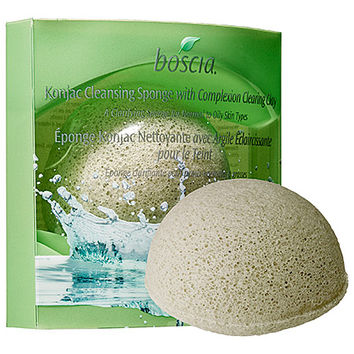 Konjac Cleansing Sponge With Complexion Clearing Clay - boscia | Sephora
