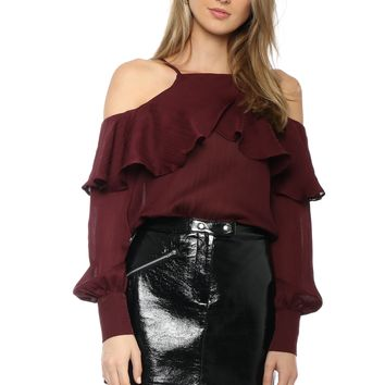 Line & Dot Cold Shoulder Ruffle Top