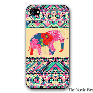 Colorful Aztec and Floral Elephant iPhone 4, 5, 5C, 6 and 6 plus and Samsung Galaxy s3, s4, and s5 Phone Case