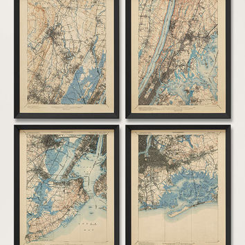 Antique Maps of the New York City Area (1900) - Set of 4 Prints - 16x20 - USGS Topographic Maps - Archival Reproduction