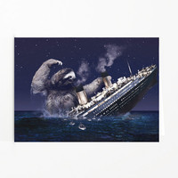 Sloth Card, Slothzilla Pt 2 Funny Christmas Card, Funny Birthday Card, Blank Card, Funny Greeting Card,  Matching envelope included