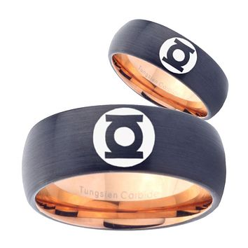 His Hers Green Lanterns Dome Tungsten Rose Gold Personalized Ring Set