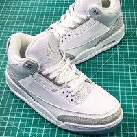 Air Jordan 3 Pure White 136064-111 Sport Basketball Shoes - Best Online Sale