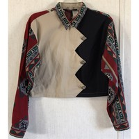 Panhandle Slim Vintage Crop Western Shirt Zig Zag Aztec Tribal Silver Button M