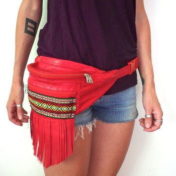 Upcycled Red Leather Ethnic Fringe Fanny Pack