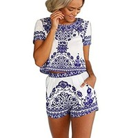 Women's Short Sleeve Print 2 Pieces Outfit Crop Top+short Pants Jumpsuit
