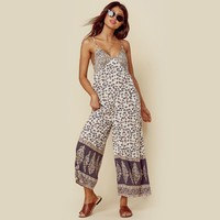 Leopard Gypsy Print Women Jumpsuit Scooped Back Adjustable Straps Sexy Romper Casual Wide Leg Boho Jumpsuits