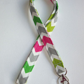 Lanyard  ID Badge Holder - candy pink green lime Chevron zigzag Zig zag  - Lobster clasp and key ring
