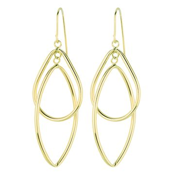 14K Yellow Gold Shiny Diamond Cut Tear Drop+Marquise Shape Freeform Drop Earring