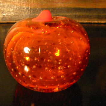 Orange Paperweight Bold Stem Controlled Bubbles Glass Art