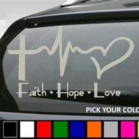 Faith Hope and  Love Car Vinyl Decal