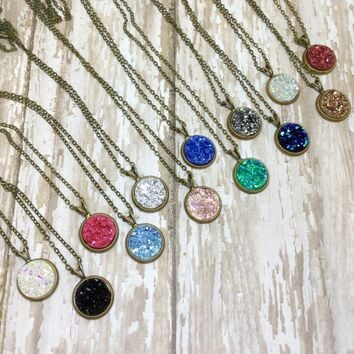 Small Round Druzy Pendant Necklace with Chain