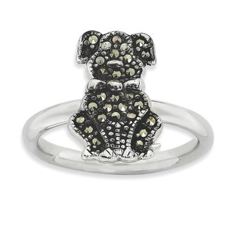 2.25mm Sterling Silver Stackable Marcasite Dog Ring