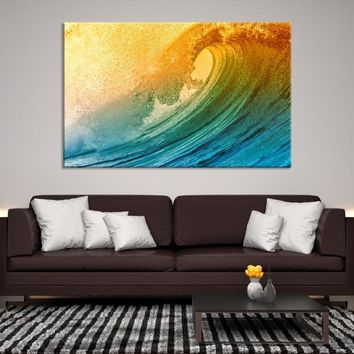 59105 - Colorful Elegant Waves Landscape Wall Art Canvas Print