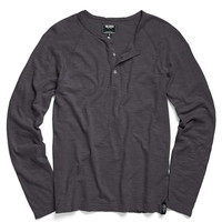 Vintage Washed Henley in Charcoal