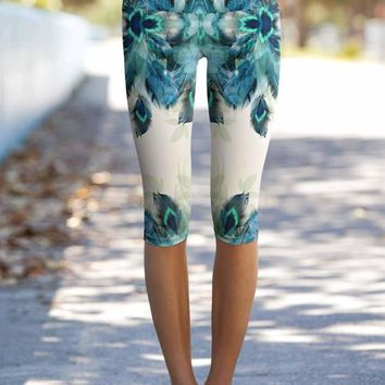 Peacock Tone Ellie Performance Yoga Capri Leggings