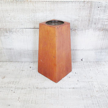 Candle Holder Mid Century Wooden Candle Holder Vintage Pillar Candle Holder French Candle Holder Eames Era Wood Pillar Candle Holder