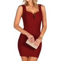 Burgundy Textured Fitted Dress