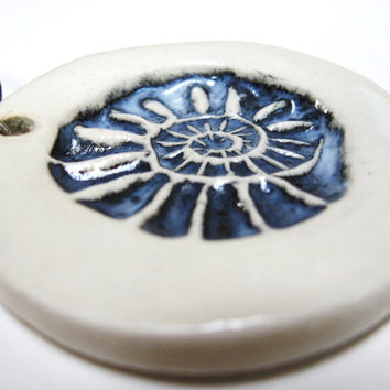 Fossil pendant,clay spiral pendant,stoneware pendant,fossil jewelry,nerd jewelry,scientific jewelry,blue black pendant,hand stamped clay
