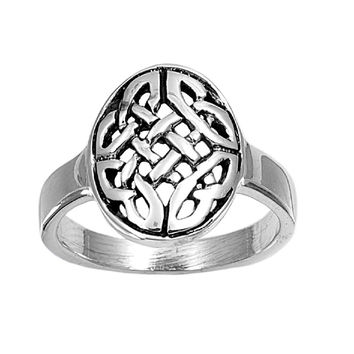 925 Sterling Silver Wicca Celtic Wreath 14MM Ring