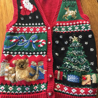Ugly Christmas Sweater Vest, santa vest, ugly christmas sweater, tacky cheisad sweater