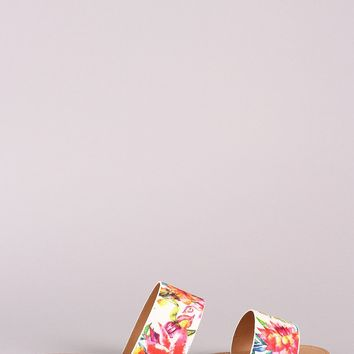 Qupid Printed Double Band Slip On Flat Sandals