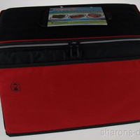 Coleman 48 Can Collapsible Cooler Black Red Lid Hatch Insulated Antimicrobial