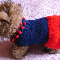 """xs small dog sweater / coat 10"""" teal & red t cup, xxxs dog sweater, dog sweater, dog clothing"""