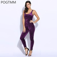Summer 2017 Sexy Sleeveless Velvet Jumpsuit Romper Women Backless Long Bodycon Playsuit Female Sporting Overalls Black Purple L3