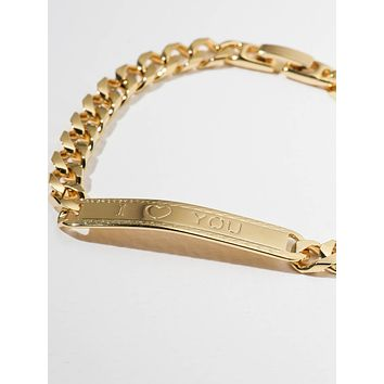 Gold I Heart You ID Bracelet