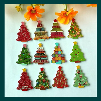 150PCs Mixed Wooden decorative Buttons Christmas tree Fit Sewing And Scrapbook Flatback Scrapbooking
