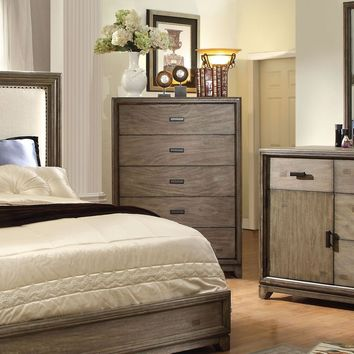 Lammers Transitional 5-Drawer Chest in Natural Ash