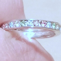 Vintage Silver Multicolored Stone Channel Set Band Ring, Eternity Band, Wedding Ring, Anniversary Ring, Stacking Ring, Pastel Jewels, Spring