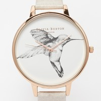 Olivia Burton Humming Bird Face Leather Strap Watch