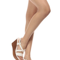 White Faux Leather Sling Back Wooden Wedges