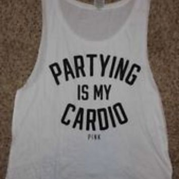 Victorias Secret Pink Partying Is My Cardio Boyfriend Muscle Tank Top Shirt XS