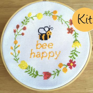 Modern Cross Stitch Kit, Bee Happy